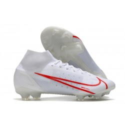 Nike Mercurial Superfly VIII Elite FG Cleats White Red