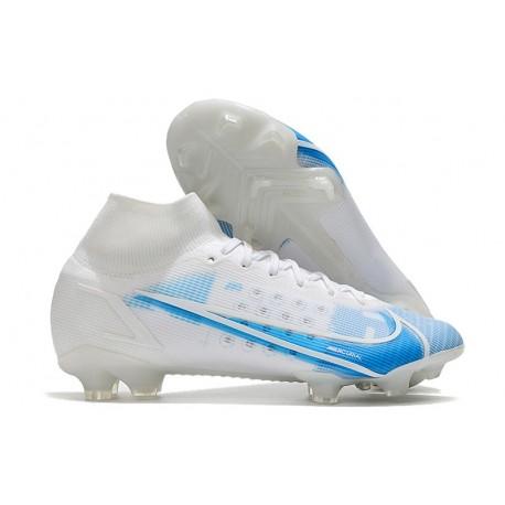 Nike Mercurial Superfly VIII Elite FG Cleats White Blue