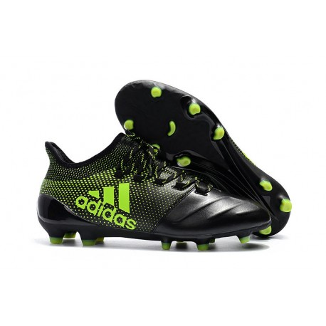 sports shoes be3b7 d3f89 adidas ACE 17.1 Leather FG Soccer Boots Black Green