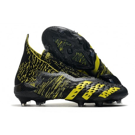 adidas Predator Freak + FG Firm Ground Soccer Cleat Black Yellow